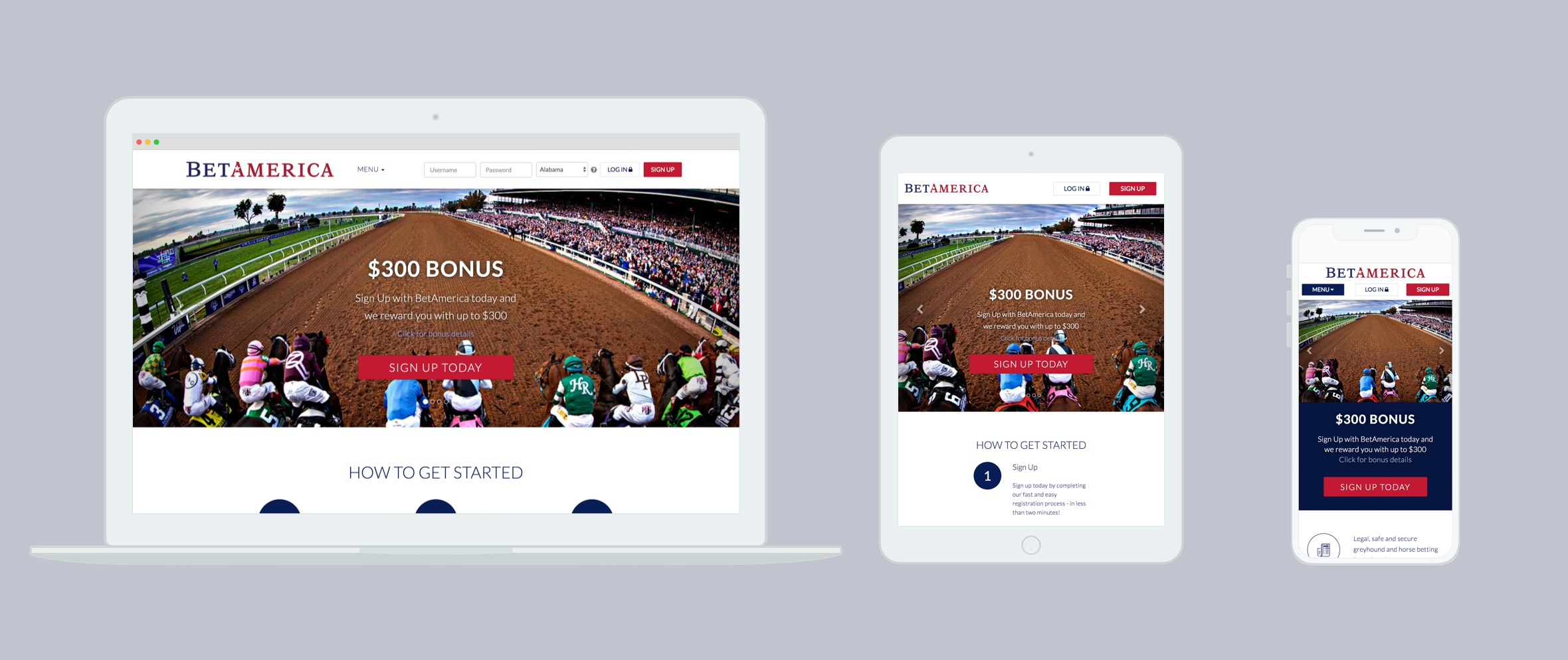 Laptop, tablet and smartphone displaying responsive BetAmerica website