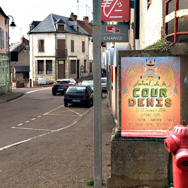 Photo of the 2016 Festival de la Cour Denis poster as seen posted on the street corner in a village in Burgundy, France