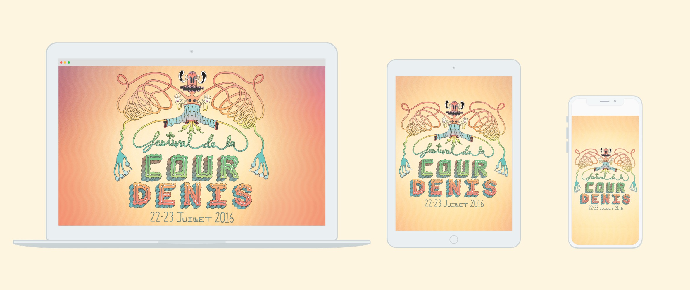 Laptop, tablet and smartphone displaying 2016 Festival de la Cour Denis website with illustration