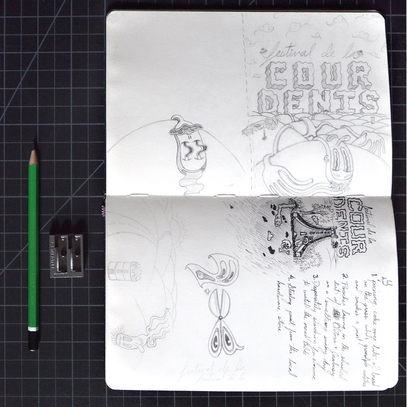 Photo of sketchbook displaying Festival de la Cour Denis 2017 concept sketch