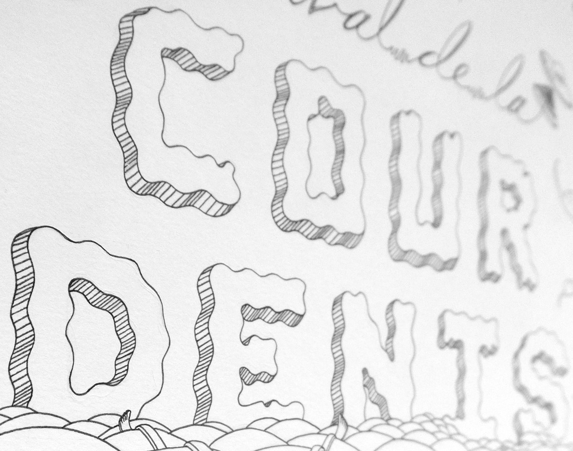 Line drawing of the Festival de la Cour Denis 2017 typography