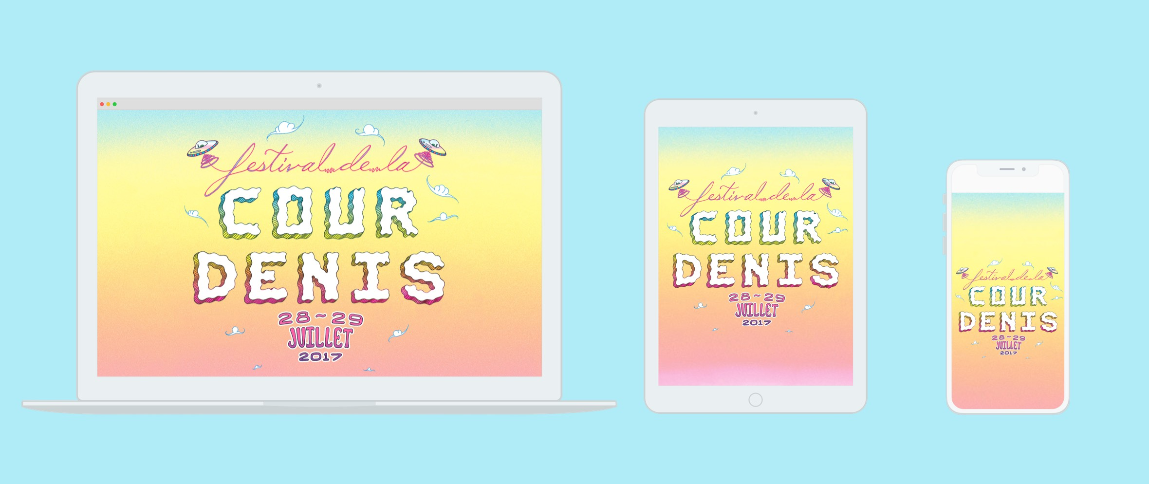 Laptop, tablet and smartphone displaying Festival de la Cour Denis 2017 website with illustration