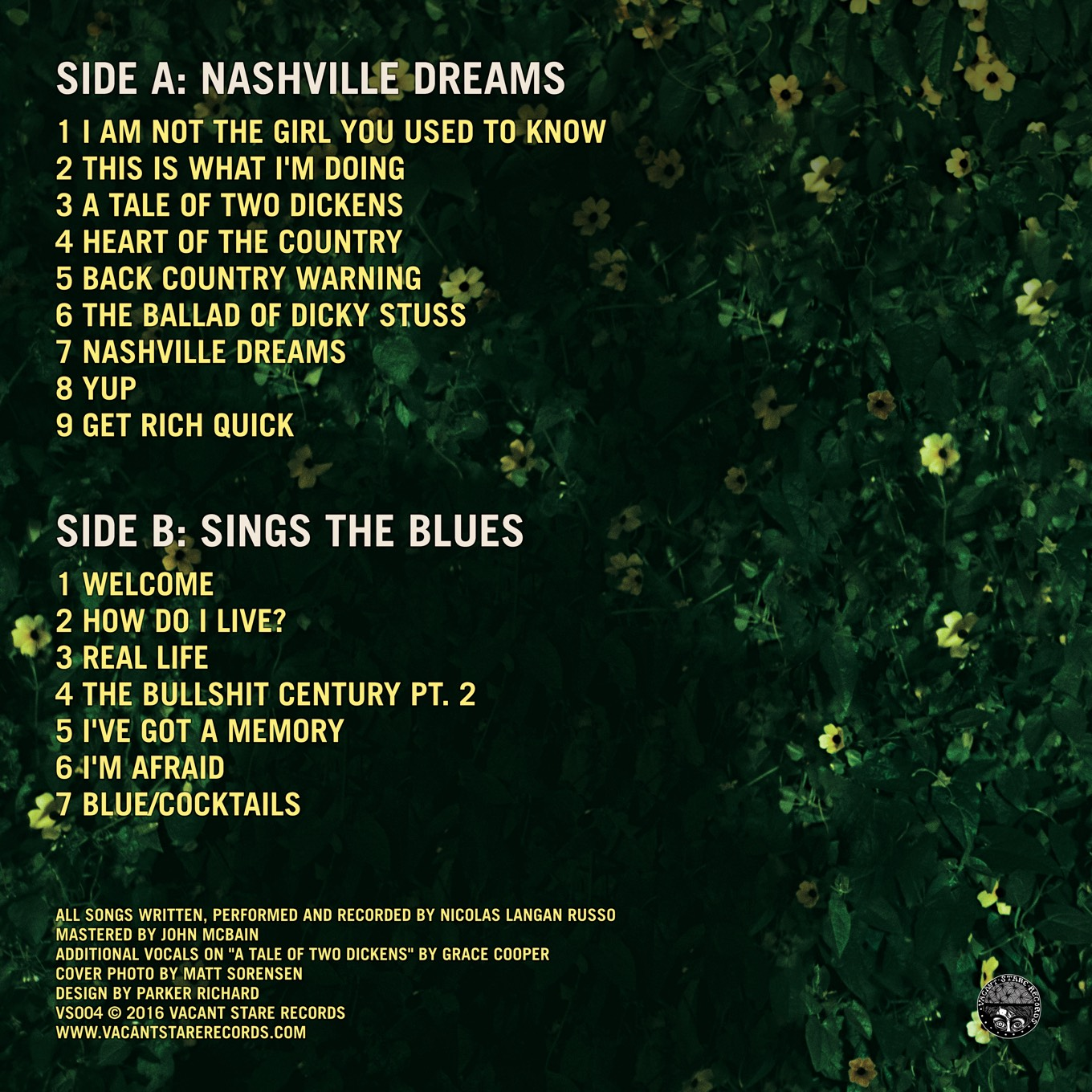 Reverse of Dick Stusso Nashville Dreams/Sings the Blues album jacket design