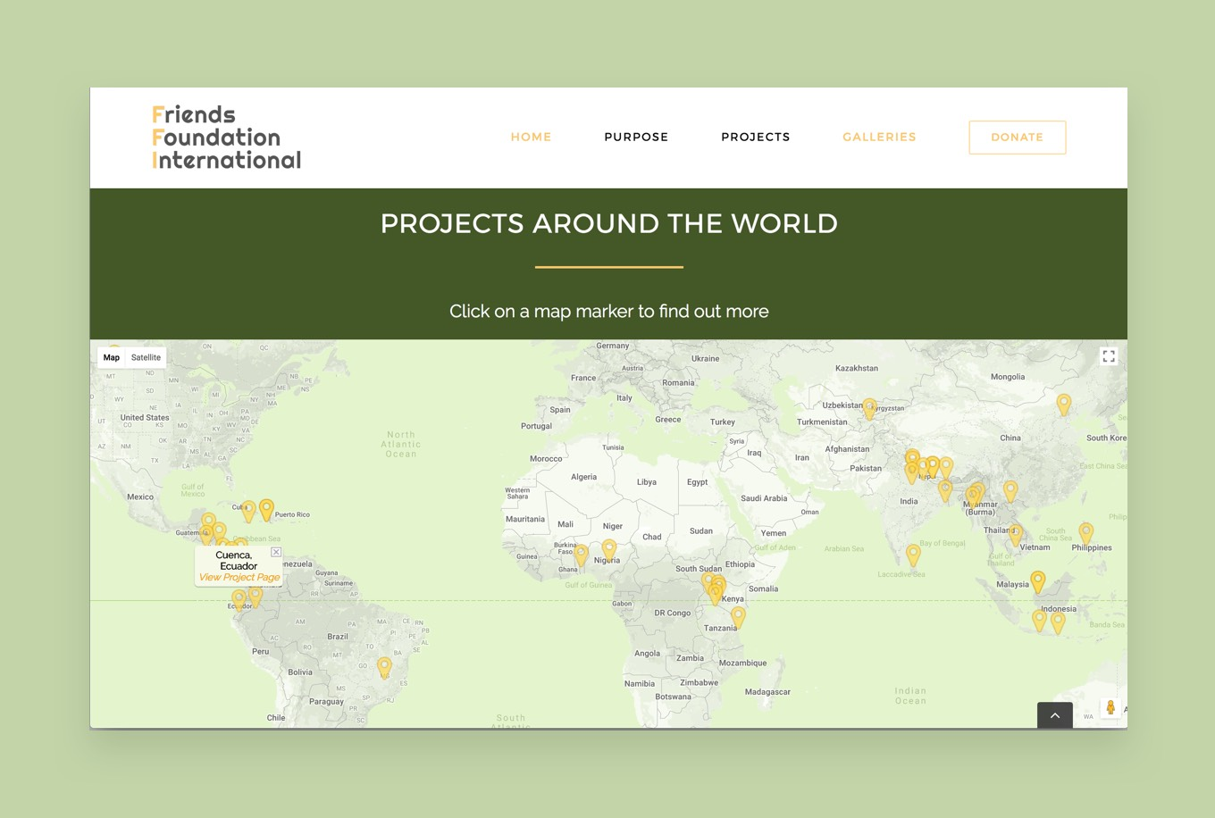 Screenshot of the map section of the Friends Fondation International website homepage