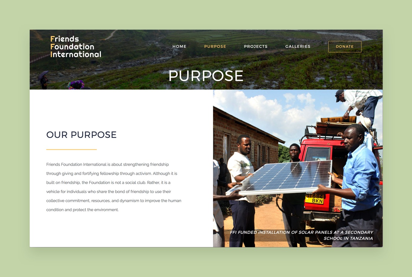 Screenshot of the Friends Fondation International Purpose page