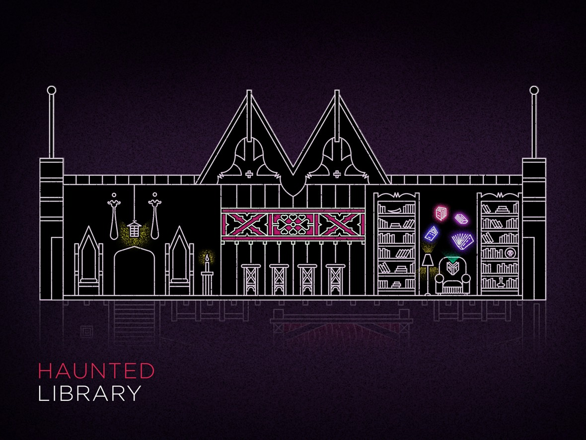Illustration of Swedish American Hall's haunted library