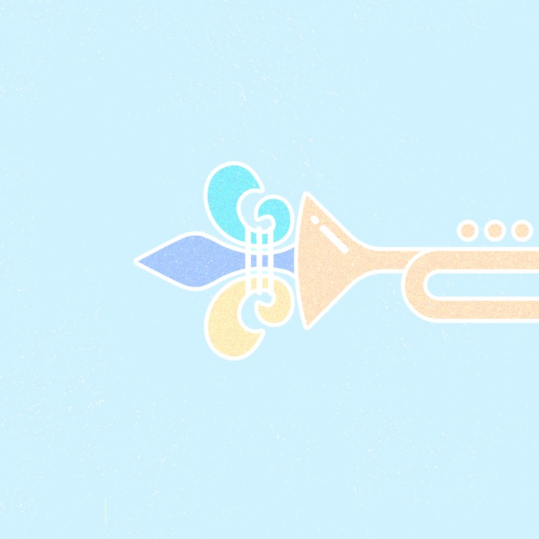 Fleur-de-lis x trumpet hybrid icon from the Good Measure tour 2017 poster
