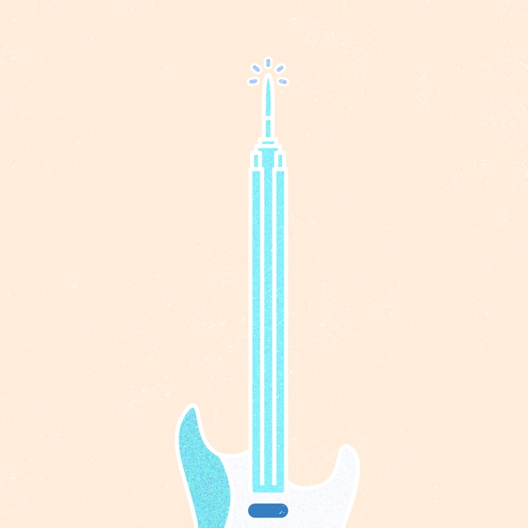 Empire State building x Startocaster guiter hybrid icon from the Good Measure tour 2017 poster