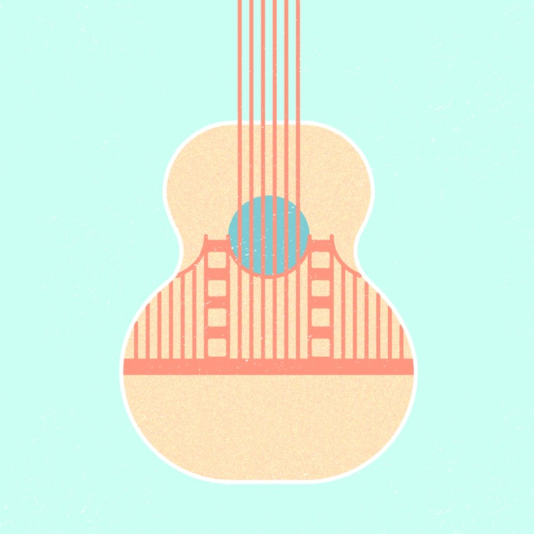 Golden Gate Bridge x acoustic guitar hybrid icon from the Good Measure tour 2017 poster