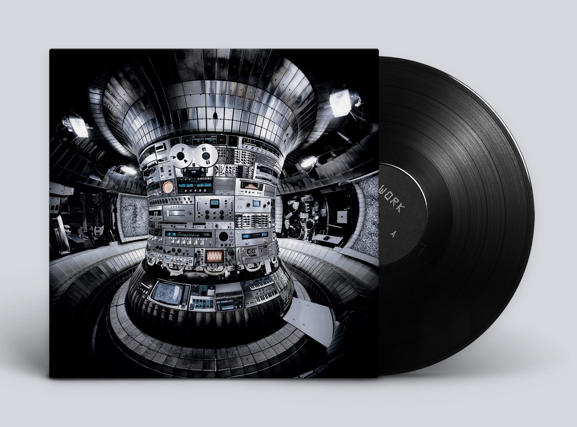 Mockup of the WORK album jacket and vinyl record